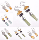 925 Sterling Silver Earrings, Natural Raw Gemstone Handcrafted Jewelry RSE21