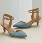 Monroe & Main Color Block Ankle Strap Heels Pumps Dress Shoes Teal Tan  6 7.5