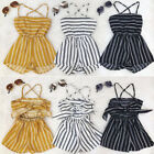 US Infant Toddler Baby Girls Kids Off  Shoulder Romper Jumpsuit Bodysuit Shorts