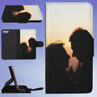 SILHOUETTE COUPLE KISSING SUNSET FLIP WALLET CASE FOR APPLE IPHONE PHONES