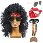 70s 80s 90s Men's Disco Halloween Rock Star Heavy Metal Wig Set Packet of 6