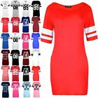 Womens Ladies Printed Sports Stripes Sleeve PJ Shirt Dress Baggy Oversized Top