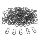 100 pcs/set Super Stong Fishing Clip Oval Split Rings Black Fishing Tackle