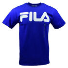 FILA Men's T-shirt - Athletic Sports Apparel - Basic White Logo- Royal Blue image