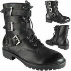Womens Ankle Combat Goth Punk Boots Zip Creepers Grip Sole Lace Up Shoes Size