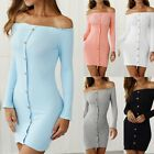 Fashion Women Sexy Knit Bodycon Mini Dress Off Shoulder Button Down Pencil Dress