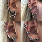 7Pcs/set Retro Women Boho Ear Stud Clip Earrings Bohemian Silver Tone Jewelry image