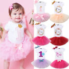 Внешний вид - Baby Girl First 1st Birthday Outfit Romper Tutu Skirt Dress Cake Party Headband