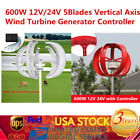 600W 12V/24V Vertical Axis Wind Turbine Generators VAWT Garden Boat House [US]