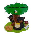 Personalized Picnic Black Bears Ornament Holiday Keepsake Gifts and Home Decor