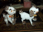 vintage ceramic dog 5295a 2 in set little gold bells apx 3x2 goltone accents