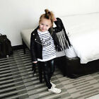Fashion Cool Baby Girl PU Leather Jackets Children Tassel Outerwear Clothing US