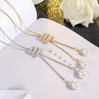 Women Fashion Jewelry Pearl Pendant Necklace Long Tassel Sweater Chain