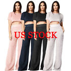 Women Fashion 2 Piece Solid Casual Jumpsuit Crop Top Flare W