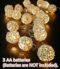 20 40 80 LED Rattan Ball String Fairy Lights For Christmas Party Flash