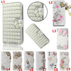 Flip Bling Wallet KickStand Case diamond Leather Cover For ZTE Phones + straps 2