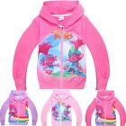 Kids Girls Zipper Hoodies Trolls Cartoon Casual Jacket Sweatshirt Clothes 3-10Y image