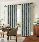 SILVER CRUSHED VELVET WINDOW CURTAINS READY MADE LINED EYELET RING TOP