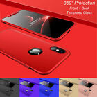 For iPhone X XS XR XS Max Case 360� Shockproof Protective +Tempered Glass Cover