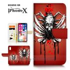 ( For iPhone XS MAX ) Wallet Case Cover P21394 Horror Skull