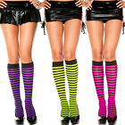 Punk Goth Opaque Striped Knee High Socks Stockings Halloween