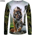 Men 3D Graphic Lion Tiger Printed Long sleeve Funny Sports T shirts Tees Tops