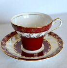 VTG Aynsley Holiday Bone China Teacup & Saucer Red White Gold Holly Berry C1468