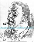 Jimmy Durante Entertainer RARE StKenan Art Chicago Artist Print of 1940 Original