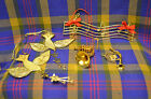 Group of 5 Christmas Ornaments, 2 Glass Doves, 2 Metal Horns, & Metal Musucal No