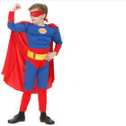 Muscle Superman Dress Jumpsuit w/ Cape Halloween Costume Cos