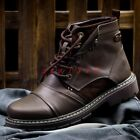 New Men Round Toe Lace Up Retro Military Combat Ankle Boot Shoe Fashion Leather
