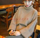 Women Coat High Neck Short Knitted Pull Over Sweater Wool Warm Winter Retro New