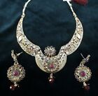 Nacklace Maroon Ethnic Polki Earring Gold Plated Jwelry Jewellery Free Shipping
