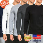 Mens 100% COTTON Medium Weight Thermal Shirts Warm Winter Long Sleeve Fit