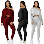 Women Casual 2 Piece Solid Loose Cut Out Short Tops Sports B