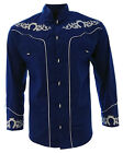 Men's Charro Shirt Camisa Charra El General Western Wear Color Blue Long Sleeve