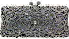 Evening luxury crystal clutch purse bag Event Bridal Gray Rose Gold 6 colors