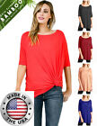 USA Elbow Sleeve Round Neck BAMBOO JERSEY Spandex TUNIC TOP S ~ L