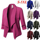 Plus Size Womens Slim OL Suit Casual Blazer Jacket Coat Tops 3/4 Sleeve Cardigan