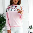 Fashion Long Sleeve Sweater Floral Print Patchwork Sweatshirts Women's Pullovers