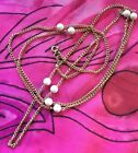 Vintage Antique Gold White Beaded Long Chain Necklace Estate Find Retro Indie