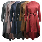 New Women's Ladies Long Duster Trench Coat Suede Back Tail Belted Jacket Cape UK