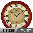 Galway Red Wall Clock Ultra Quiet , Non ticking  Battery Operated