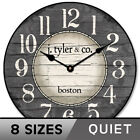 Boston Harbor Gray Wall Clock Ultra Quiet Non ticking Whisper Quiet Battery Oper