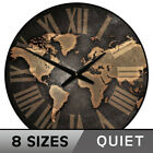 Industrial World Map Wall Clock Non ticking Whisper Quiet Battery Operated