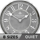 Gray & White  Ultra Quiet , Non ticking  Battery Operated  Wall Clock