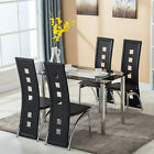 5 Piece Glass Dining Table Set 4 Chair Breakfast Ktichen Dining Room Furniture