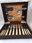 Silver Plated 6 Forks And Knifs Fish Set With Server Set And Box