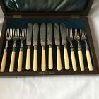 Silver Plated & Solid Silver Rings 6 Forks And Knifs Fish Set With Wooden Box