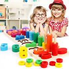 Colorful Wooden Number Blocks Stacking Tumbling Tower Kids Educational Toys Gift